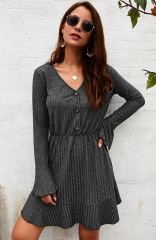 Long Sleeve Gray Elegant Knitted Bodycon Tie Waist Sweater Pencil Dress