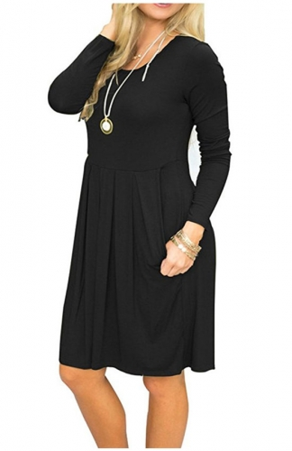 Long Sleeve Pleated Loose Swing Casual Dress