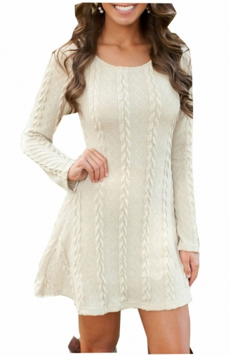 Women's Knitted Crewneck Sweater Dress