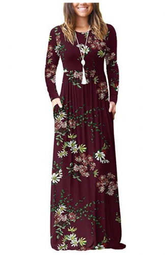 Red Floral Print Maxi Dresses Casual Long Dresses with Pockets