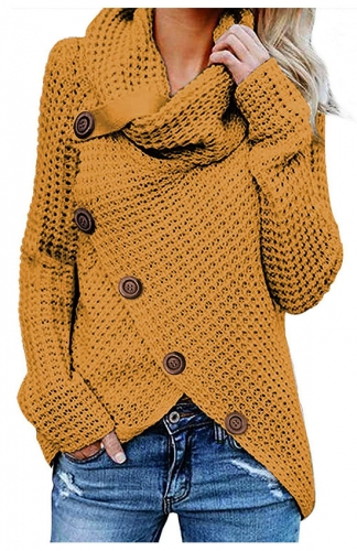 Yellow Casual Turtle Cowl Neck Asymmetric Hem Button Knit Sweater