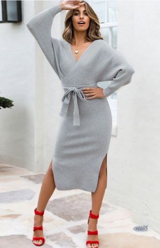 Sweater Dresses Gray V Neck Slit Open Back Dress with Belt