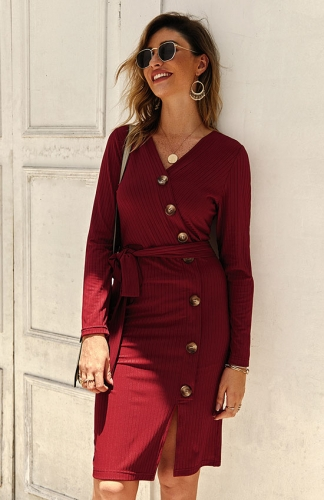 High waist Red Long sleeve v-neck single breasted dress