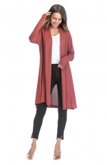 Casual Lightweight Red Long Sleeve Cardigan Soft Tops