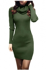 Green Cowl Neck Knit Stretchable Elasticity Slim Fit Sweater Dress