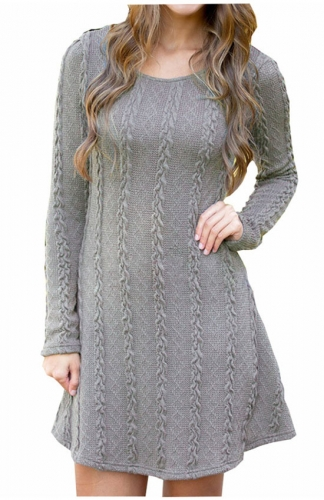 Women's gray Knitted Crewneck Sweater Dress