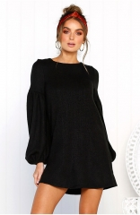 Black Loose Casual  Knitted Sweaters Long Sleeve Dresses