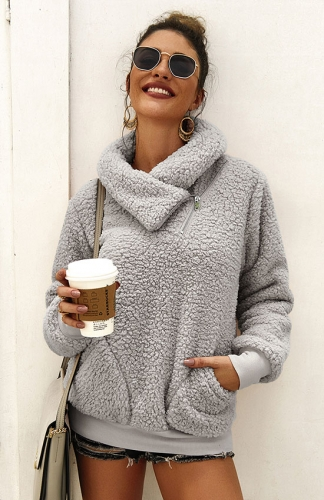 Winter Grey Lapel Sweatshirt with Pockets Outwear