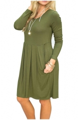 Green Long Sleeve Pleated Loose Swing Casual Dress