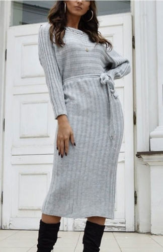 Ribbed White Long Sleeve Midi Sweater Dress