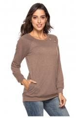 Brown Long Sleeve Tunic Shirt with Pockets Buttons Casual Top Blouse