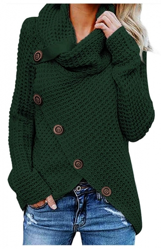 Green Casual Turtle Cowl Neck Asymmetric Hem Button Knit Sweater
