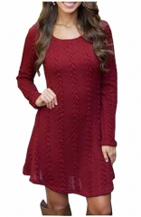 Women's Red Knitted Crewneck Sweater Dress