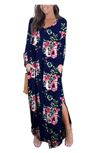 Blue Casual Loose Pocket Long Dress Long Sleeve Split Maxi Dresses