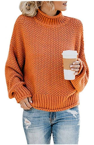 Orange Turtleneck Sweaters Batwing Long Sleeve Pullover Loose Jumper