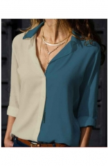 V Neck up Sleeve Button Down Blouses Tops