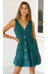 Sleeveless V Neck Button Down Casual Swing Short Dress