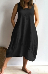 Women Cotton Casual Dress Solid Color Loose Casual