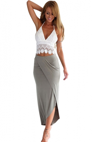 Out Vest Top and Skirt Sexy Elegant Two Piece Set