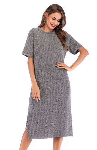 Crewneck Short Sleeve Maxi Dress with Side Slit