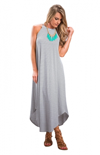 Casual Stripe Sleeveless Loose Beach Maxi Dress