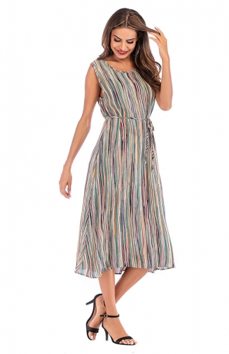 Color Striped Printed Round Neck Sleeveless Maxi Dress