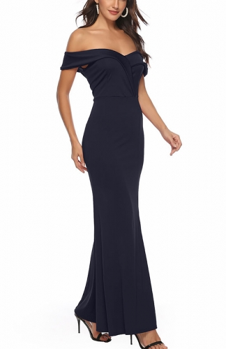 Shoulder High Split Long Formal Party Dress Evening Gown