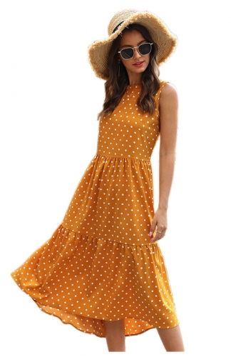 Women's Sleeveless Half high Collar Dot Irregular Dress