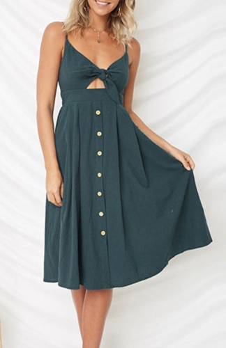 Tie Front V-Neck Spaghetti Strap Button Down Backless Swing Midi Dress