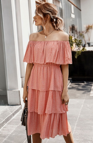 Women's Off The Shoulder Ruffles Summer Chiffon Long Party Beach Maxi Dress