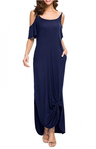 Women's Summer Casual Strapless Strap Split Maxi Dress with Pocket
