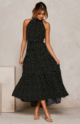 Women's Summer Polka Dot Floral Printed Adjustable Strappy Dress