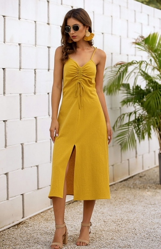 Women's Casual V-Neck Summer Backless Solid Split Dress