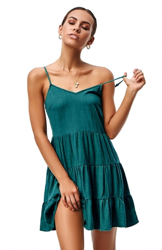 Womens Summer V Neck Sleeveless Spaghetti Strap Sundress  Pleated Loose Dress