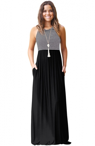Women's Summer Sleeveless Loose Casual Long Dress with Pockets
