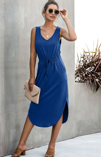Women V Neck Sleeveless Drawstring Waist Casual Split Hem Midi Dress Side Pockets