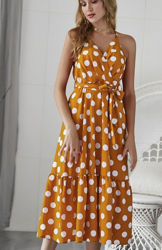 Women's Polka Dot Swing Maxi Dress V Neck  Flowy A Line Dress with Belt