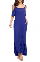 Strapless Strap Cold Shoulder Short Sleeve Split Maxi Dress with Pocket