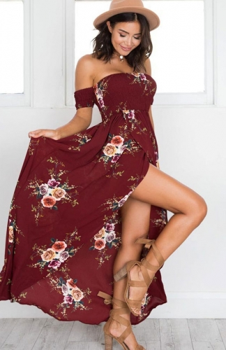 Women Summer Floral Off The Shoulder Split Chiffon Maxi Beach Dresses
