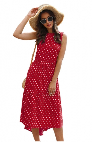 Women Sleeveless Dot Print Loose Irregular Fold Casual Mini Party Dress