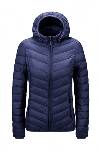 Women's hooded foldable ultra-light short down jacket